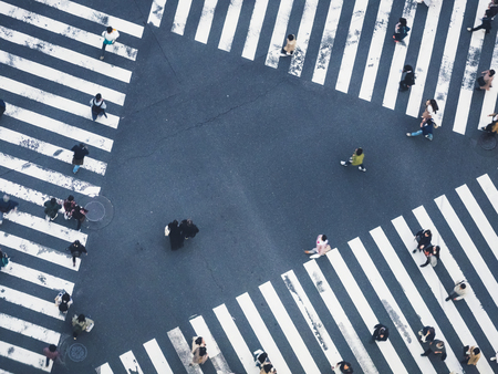 People walking city street top view crowd crosswalk pedestrian
