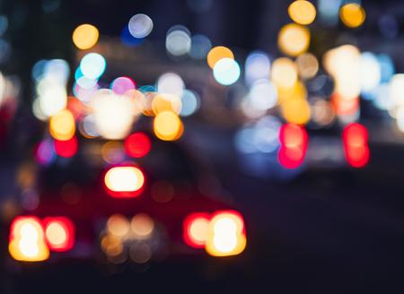 Abstract light Colourful Bokeh cars street at Night Blur Background 版權商用圖片