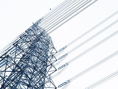 Poste de alta tensión Línea eléctrica Torre de alta tensión Industria Foto de archivo