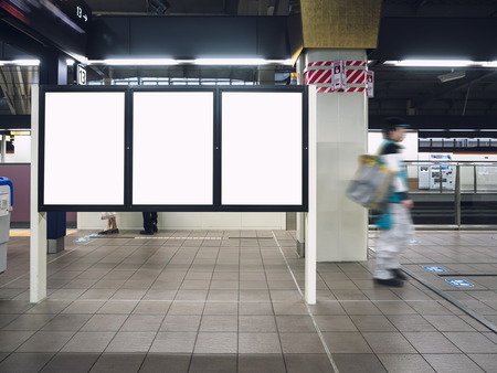 Mock up Blank boards Poster in Train station Platform with People walking Stockfoto - 108308444