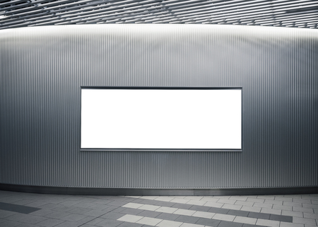 Billboard Banner template Mock up on wall Modern interior with lighting Stock Photo