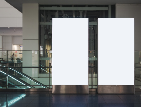 Blank mock up Banner Vertical sign stand display indoor Building Фото со стока