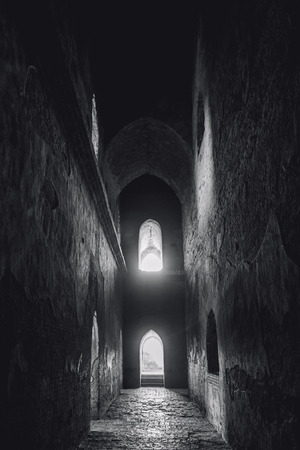 Architecture Hallway Corridor Brick wall Old ancient building Black and white Reklamní fotografie