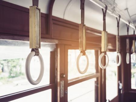 Handrails on tram Vintage style transportation