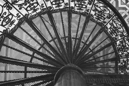 Spiral stairs Steel staircase ornate decoration old Architecture details