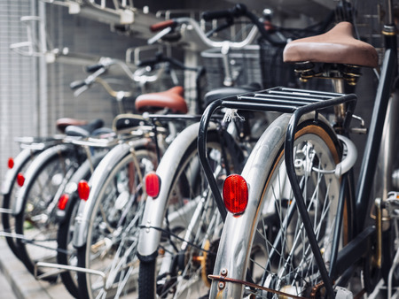 Bicycles in bike parking transportation in Japan 版權商用圖片