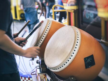 Drum player Traditional style Japan entertainment Festival event 版權商用圖片