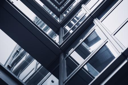 Architecture details Steel frame Glass window Modern building Reflection Banco de Imagens