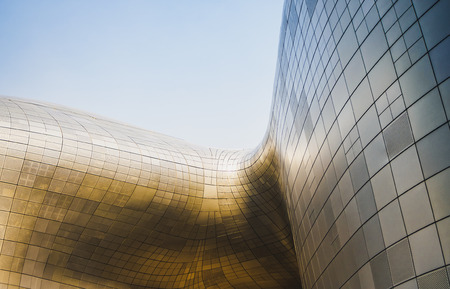 Architecture details Modern building Futuristc Metal wall design Curve and space Zdjęcie Seryjne