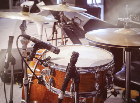 Drum set with Microphone Band live concert