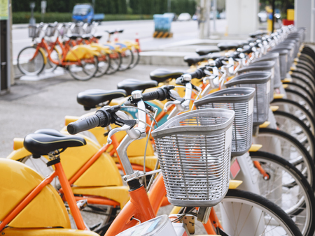 Bicycle in Row City ride Travel transportation in Taiwan