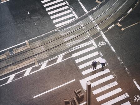 People walking on crosswalk Aerial view street Urban city