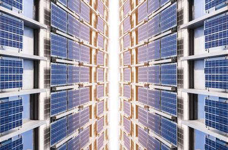 panneau solaire, énergie propre, système utilitaire industriel, technologie, fond
