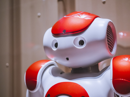 BARCELONA, SPAIN - OCT 23, 2018 : Nao Robot humanoid robot developed by Aldebaran Robotics and rebranded as SoftBank Robotics in 2015