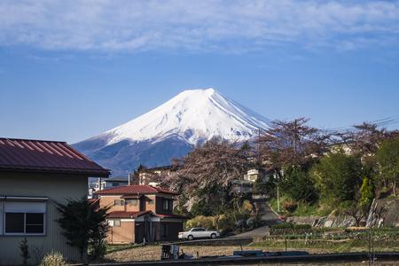 Mountain Fuji View from local village Japan spring season