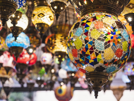 Colourful Lamp lighting Interior shop decoration Istanbul Turkey market