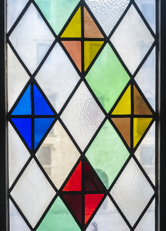 Stained glass window decoration Transparent colorful pattern Stock Photo