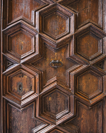 Ancient Ornate Wooden Door carving Geometric pattern decorative ornament