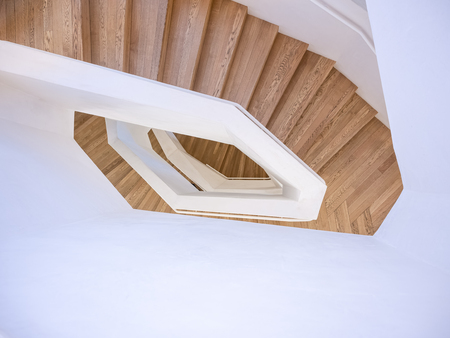 Spiral Staircase step wooden floor Architecture details Indoor Modern Building perspective Imagens