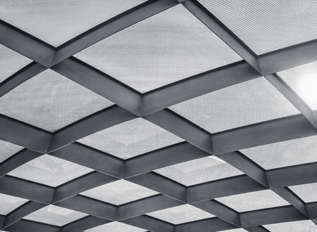 Steel frame Roof structure Architecture details pattern Modern building 스톡 콘텐츠
