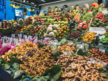 Vegetables and Fruits stall Organic Farm product sell in Market place Europe Gourmet travel