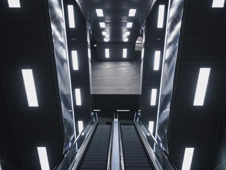 Escalator in Modern building Neon light Interior Futuristic Background