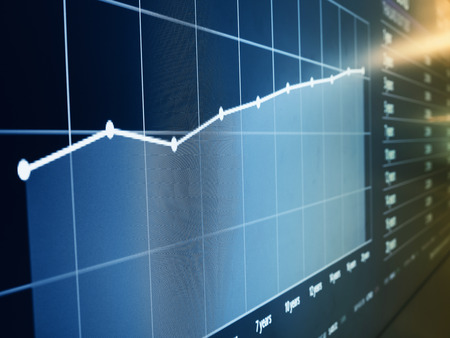 Financial Chart graph data on Digital screen Business investment concept Imagens