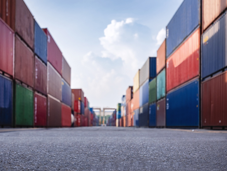 Containers stack on perspective Cargo shipping Logistic freight warehouse Import Export business Stock Photo