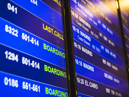 Flight Information Timetable board Airline flight detail at airport