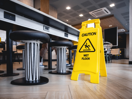 Caution Wet floor signage stand indoor Restaurant cafe Safety sign