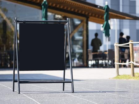 Mock up Menu Restaurant cafe Blank chalkboard outdoor signage Reklamní fotografie
