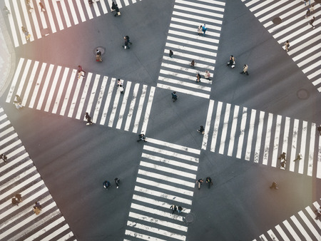 People walking Crossing street Sign Top view city traffic signage