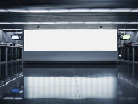 Mock up Billboard banner Blank media Indoor subway station Panorama light box Banque d'images - 124531785