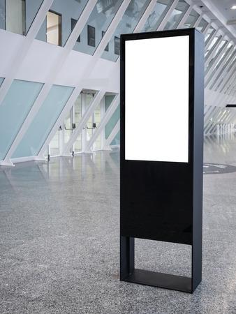 Mock up sign stand Interior modern building background Reklamní fotografie