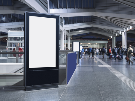 Mock up Media Advertising indoor train station Public building with People walking