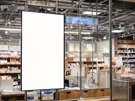 Blank Poster frame template in Supermarket blur People at cashier Advertising banner Reklamní fotografie