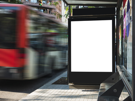 Mock up Poster template at Bus station Billboard Banner Advertising Media outdoor Sign Street city Фото со стока