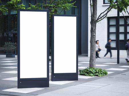 Blank mock up Light Box set Template Vertical sign stand outdoor Public building Reklamní fotografie