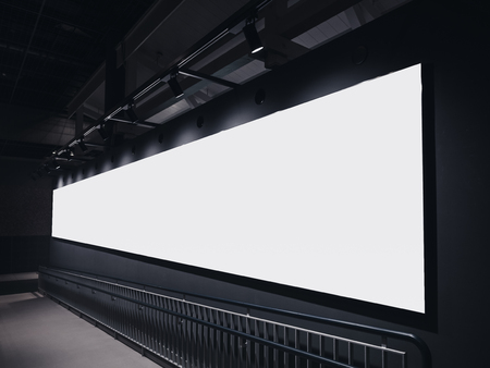 Mock up Banner Billboard indoor building perspective Media advertising with lighting