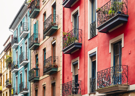 Colourful Houses Facade Building Architecture Balcony Old town Spain city Travel Reklamní fotografie