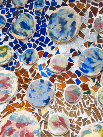Colourful Tiles mosaic on wall Architecture decoration on Gaudi building 免版税图像
