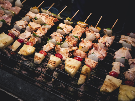 Barbecue grill on stove Meat on stick Bbq Party outdoor