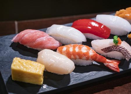 Sushi set on wooden plate Food model Japanese  Restaurant
