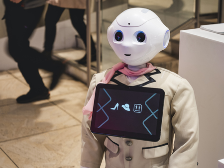 TOKYO, JAPAN - APR 15, 2019 : Pepper Robot with information screen display as Reception Marui OIOI Department store Shibuya Tokyo