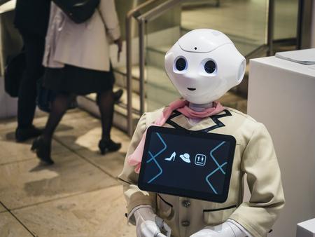 TOKYO, JAPAN - APR 15, 2019 : Pepper Robot with information screen display as Reception Marui OIOI Department store Shibuya Tokyo Фото со стока - 124496912