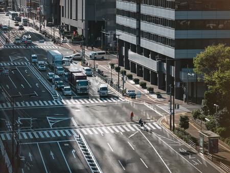 OSAKA, JAPAN - APR 18, 2017 : Osaka city street Car transportation Business district