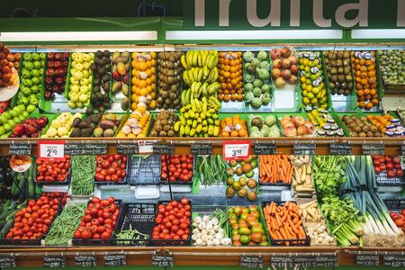 BARCELONA, SPAIN - OCT 23, 2018 : Fresh Fruit and Vegetable in Supermarket shelf Food retail business