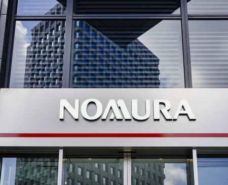 TOKYO, JAPAN - APR 18, 2019 : Nomura Holdings Japanese financial holding company Banking financial services Headquarters at Nihonbashi Tokyo Japan