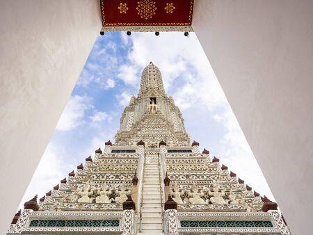 Wat Arun Ancient Architecture Pagoda with Colourful tiles Landmark Bangkok Thailand