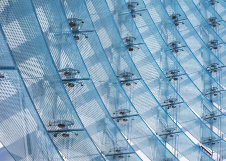 Detalle de la arquitectura Exterior de patrón de pared de fachada de vidrio de edificio moderno